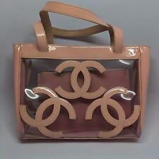 Rare Chanel Pale Pink Logo Clear Vinyl PVC Plastic Tote Bag