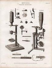1817 Géorgien Imprimé ~ Optique Composé Microscope ADAM'S -MARTIN'S Équipement