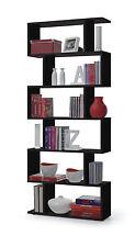 Black Gloss Ziggy Bookcase Room Divider Shelf Shelving Display