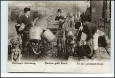 "HAMBURG Reprint-AK Männer mit Hunden b. Arbeit ""Hamburger Milchkarre"" Händler"