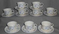 Set (9) Villeroy & Boch RIVIERA PATTERN Cup and Saucers MADE IN LUXEMBOURG