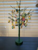 "Vintage Easter tree 16.5"" tall w/ Lots wooden And Resin Easter ornaments"