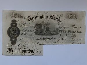 Darlington Bank Five Pounds Banknote £5 GR56 22.10.1895 (mynrefn1Blue)