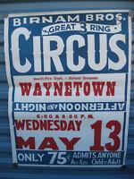 Vintage Original Birnam Bros.3 Ring Circus Poster Flyer