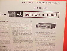 1964 MOTOROLA AUTO CAR AM RADIO FACTORY SERVICE SHOP REPAIR MANUAL MODEL 414