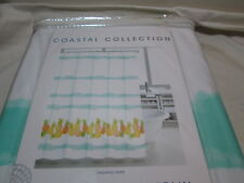 "Coastal Collection Shower Curtain 72""x72"" PINEAPPLE STRIPE ~ Blue, Yellow, Green"