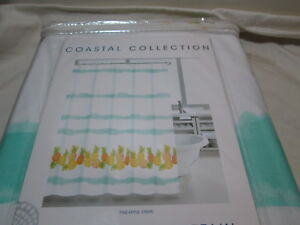 """Coastal Collection Shower Curtain 72""""x72"""" PINEAPPLE STRIPE ~ Blue, Yellow, Green"""