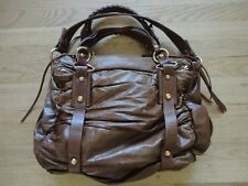 FRANCESCO BIASIA Brown Leather Double Zip Pocket Hobo Slouch Purse Shoulder Bag