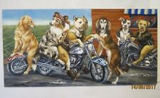 """Dogs on Harley's"" Original Painting by Judy Martin New Jersey Harley Davidson"