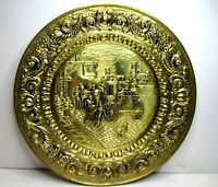"Vintage 22"" Embossed Brass Wall Hanging Plate Tavern English Pub Colonial Wagon"
