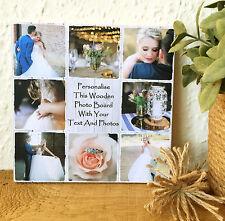 "8x8"" personalised wooden photos & text block wedding friendship valentine's day"