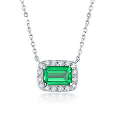 14k White Gold Emerald Cut Vintage Natural Diamond & Emerald Pendant Jewelry