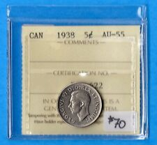 Canada 1938 5 Cents Five Cent Nickel Coin - ICCS AU-55