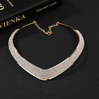 Women Jewelry Chain Pendant Crystal Choker Chunky Statement Bib Necklace  TB TEU