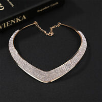 Women Jewelry Chain Pendant Crystal Choker Chunky Statement Bib Necklace  LE