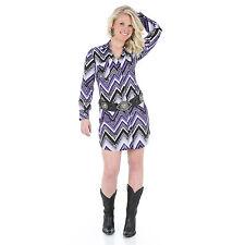 Wrangler Womens Rock 47 Western PURPLE AZTEC Long Sleeve Dress - S - LJD751M