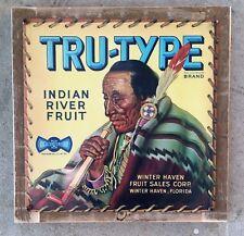 Tru-Type Fruit Crate Label American Indian River Florida Vintage Framed Sign