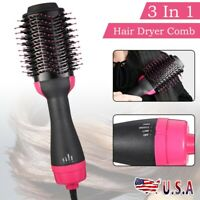 3-In-1 One Step Hair Dryer and Volumizer Brush Comb Straightening Curling Iron