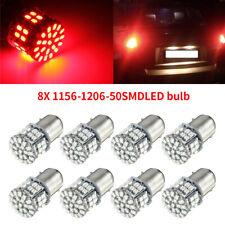 8x Red 1156 BA15S 1206 50-SMD Car Tail Backup LED Light Bulb 1141 1073 7506 12V