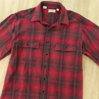 vtg usa made faded LL BEAN flannel camp shirt LARGE TALL red plaid chamois LT