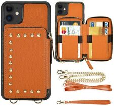"""ZVE iPhone 11 Wallet Case-6.1"""" (2019)-Brown/Orange-NEW-FAST SHIPPING"""