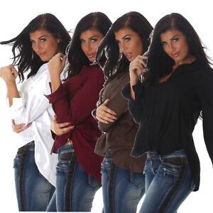 Damen Bluse Business Pullovershirt Blusenshirt Pulli Langarm 36 38 40 S M L