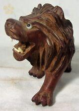 Vintage Hand Carved Wood Sabre Tooth Tiger Lion Statue Figurine Wood Carving