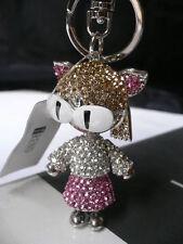 Nuovo Donna Metallo Argento Moda Portachiavi Oro Rosa Strass Grandi Occhi Gatto