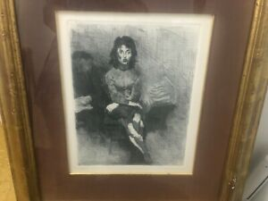 Couple in Interior - Signed Etching by Raphael Soyer - 1963