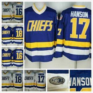 Hanson Brothers Slap Shot Chiefs Charlestown #16 #17 #18 Ice Hockey Jerseys New