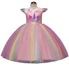 Girls Unicorn Colored Tulle Tutu Dress Princess Cosplay Costume Party Dresses