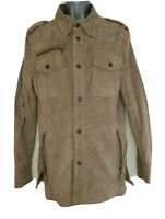 SPONTINI BY VENTCOUVERT Women's Beige Goat Suede Leather Coat Jacket. Size Small