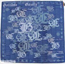 "NWOT Authentic JOHN GALLIANO ""GAZETTE"" Print 100% Silk Scarf Foulard"