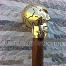 Solid Brass Skull Head Handle vintage Walking Cane Wooden Stick Stylish Cane