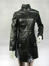 Ladies Black Glaze Leather Slim Tight Fitted Long Biker Fashions Jacket Bike