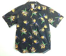 "Hawaiian Aloha Style Shirt M 46"" Roundtree & Yorke - Black with Bird of Paradise"