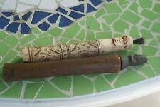 2 Hand carved Shaman Ancestor Buffalo Bone Scrimshaw Betel Containers BN19AB-