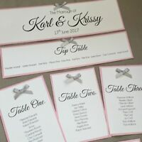 Handmade Personalised Table Seating Plan Names Individual Cards many colours