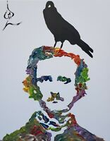 Andrew Harr Fine Art Original Edgar Allen Poe Abstract Painting Portrait Pop Art