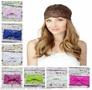 Breites Haarband SPITZE 8,5cm Bandana YOGA  Knoten Vintage Style - 20 Farben