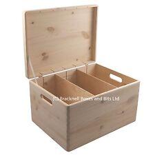 Pine wood storage box with lid & dividers BPU170D 39.5x29.5x23.5CM Memory Craft