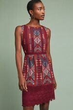 8 - Akemi + Kin Anthropologie Burgundy Beaumier Embroidered Shift Dress 0206BS