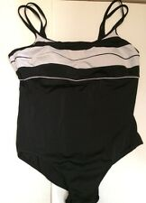 Riviera Black White Stripe Swimsuit Inner Support Bra Padding Sz 20 Double Strap