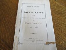 ORIGINAL 1875 YALE COLLEGE 175TH COMMENCEMENT PROGRAM