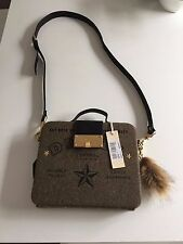 DIESEL New Woman Brown Wool Blend Leather Details BLOGGER Tablet Handbag Clutch