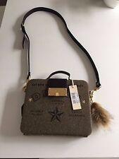 DIESEL New Woman Brown Wool Blend Leather Details BLOGGER Tablet Handbag Clutch