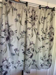 Next Grey Floral Curtains. Purple Teal Flowers.  Fully Lined W66 x L54. VGC. #B5
