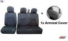 2+1 BLACK FABRIC RED BLACK SEAT & ARMREST COVERS SET FOR VW VOLKSWAGEN CADDY VAN