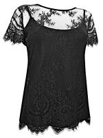 MARKS & SPENCER BLACK LACE OVERLAID CAMISOLE PARTY TOP SIZ 10 12 14 16 18 20 22*