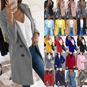 Damen Blazer Wintermantel Wollmantel Lang Anzug Jacke Sakkos Mantel Warm .